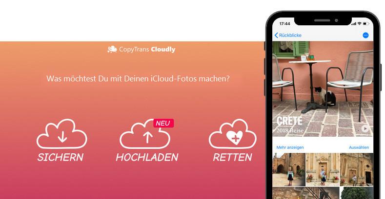 iCloud Bilder hochladen mit CopyTrans Cloudly