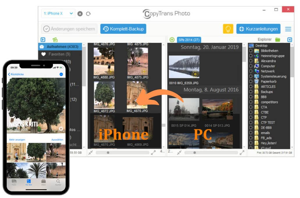 Fotos auf iPhone importieren