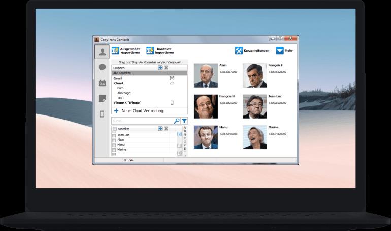 Interface CopyTrans Contacts am PC
