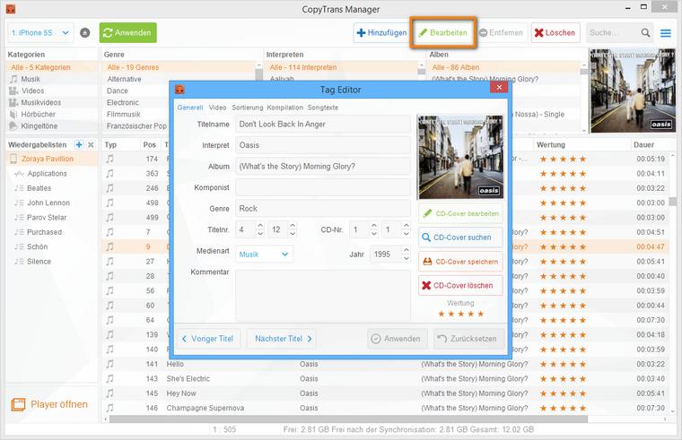 Musik ttags mit CopyTrans Manager bearbeiten