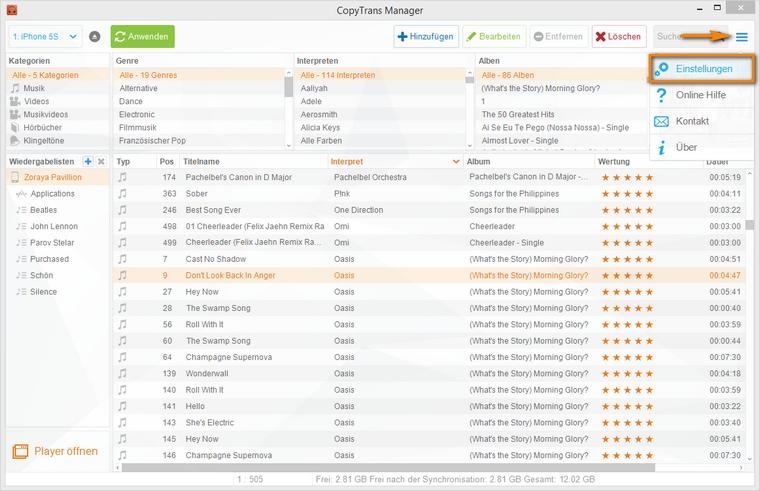 iTunes Alternative CopyTrans Manager Einstellungen