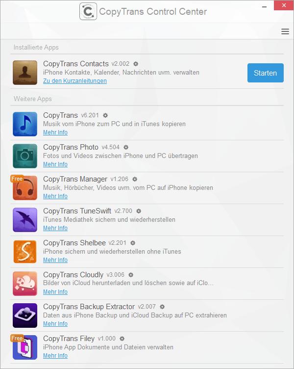 CopyTrans App starten