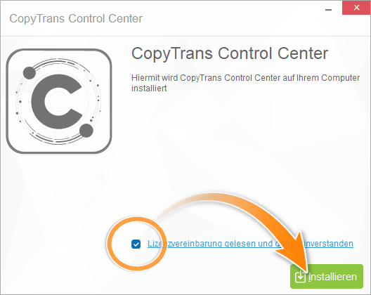 CopyTrans Control Center installieren