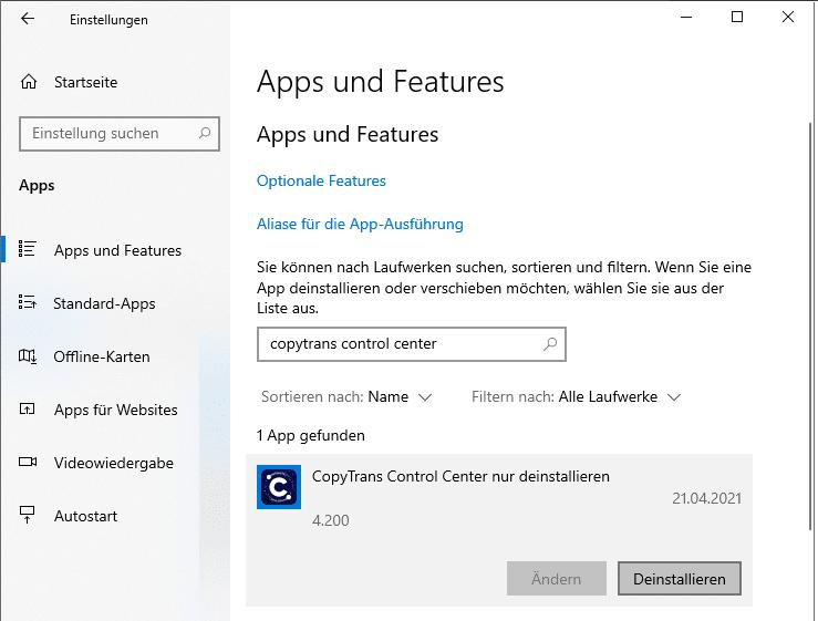 CopyTrans Control Center deinstallieren in Windows Einstellungen