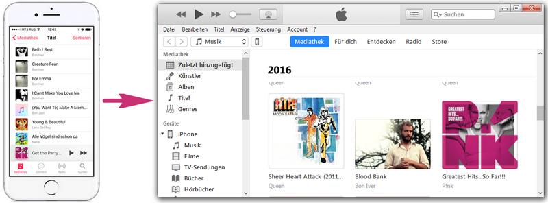 iPhone Musik in iTunes übertragen
