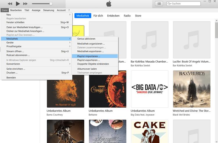 Wiedergabeliste von PC zu iTunes