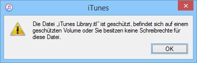 iTunes Mediathek geschützt