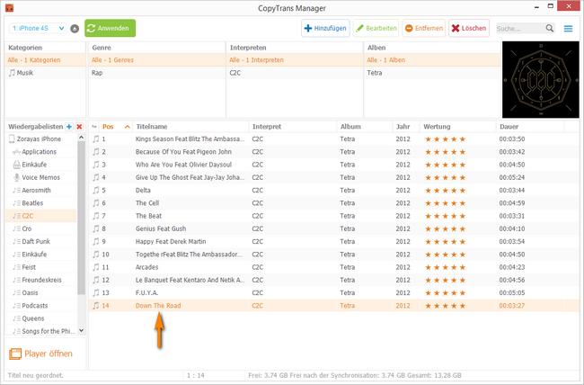 iTunes Titelreihenfolge verändern