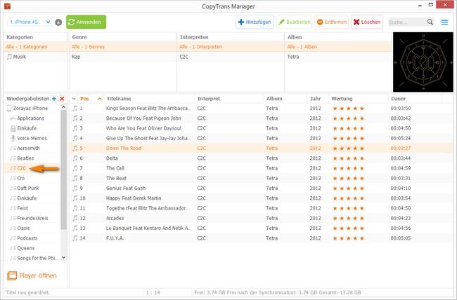 Playlisten am iPhone, ipad und iPod Touch