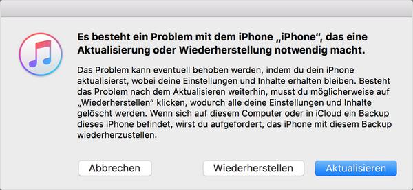 iPhone in iTunes reparieren oder wiederherstellen