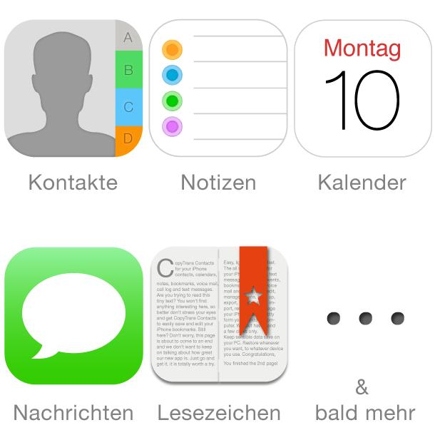 iPhone Kontakte, Kalender und mehr