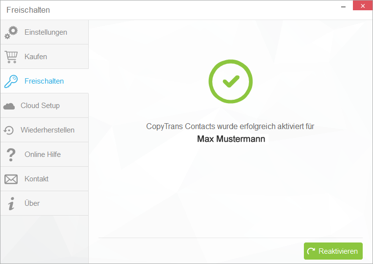 copytrans contacts erfolgreich aktiviert