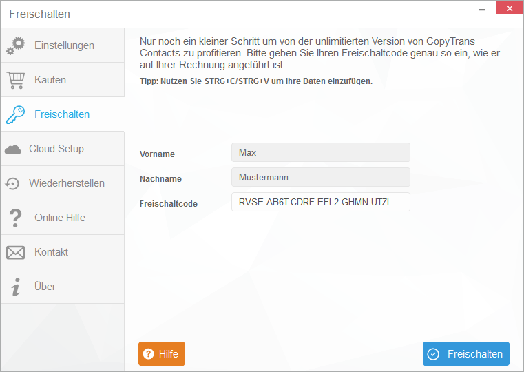 CopyTrans Contacts Freischaltcode eingeben