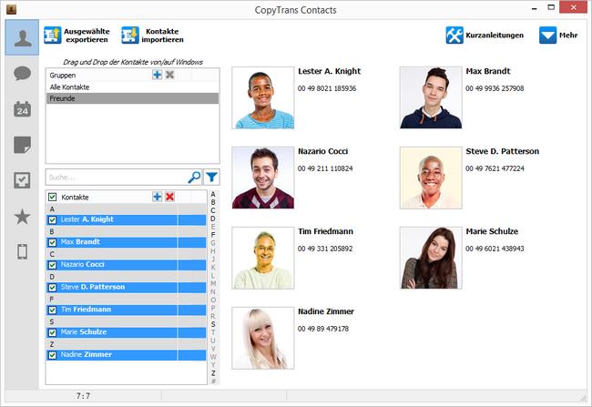Kontakte in CopyTrans Contacts importiert