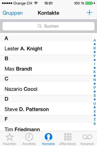 Kontakte am iPhone gespeichert