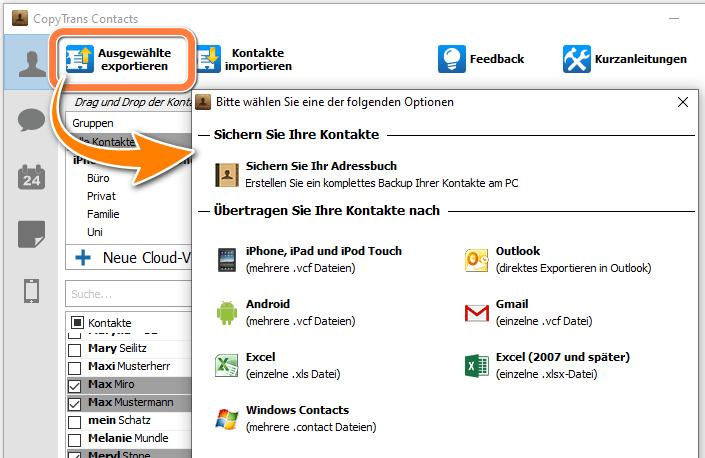 Format von Kontakten auswählen