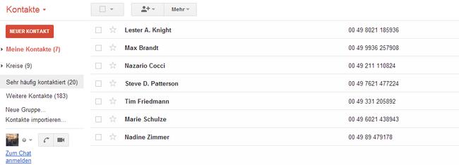 iPhone Kontakte in Gmail
