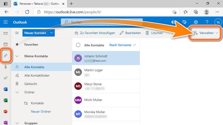 Neue Daten in Kontakte App Windows 10 importieren