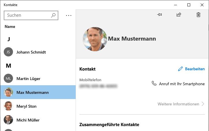 Kontakte in der Kontakte App Windows
