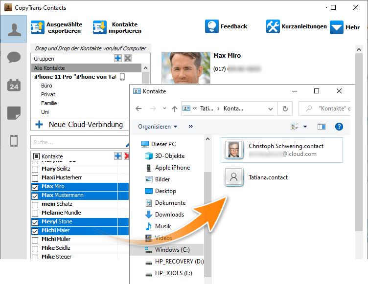 Windows 10 Kontakte in Speicherort übertragen