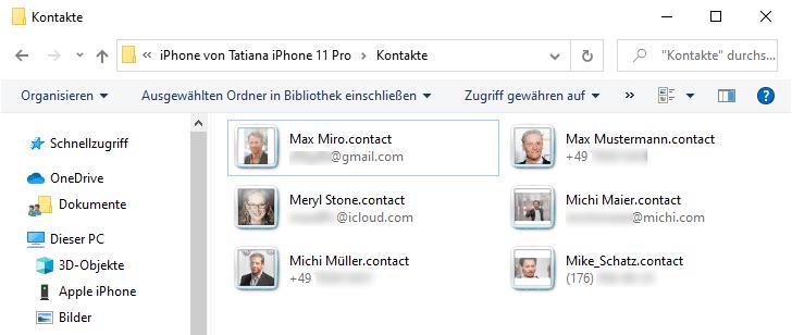 Ordner Windows Contact mit Kontaktdaten