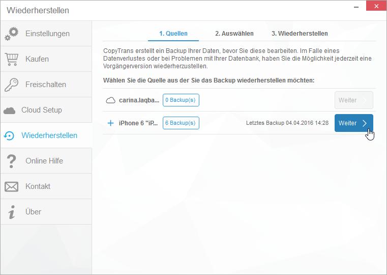 iphone 6 kontakte backup