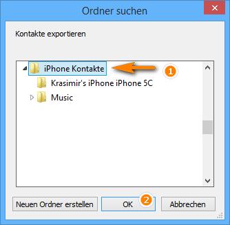 Kontakte vom iPhone exportieren