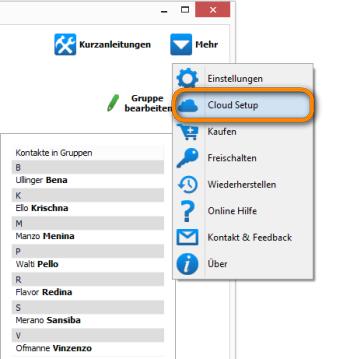 Gmail Kontakte Cloud-Setup