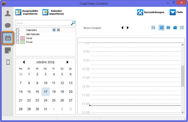 iPhone Kalender links tippen