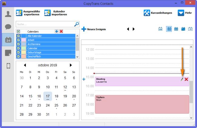 Kalenderereigniss auswählen