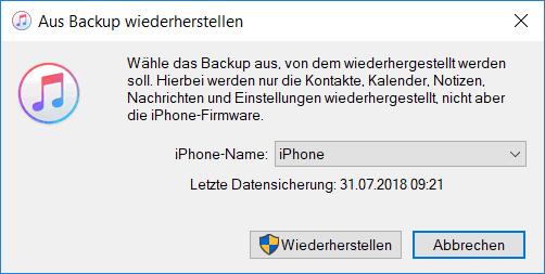 iPhone Notizen aus Backup wiederherstellen