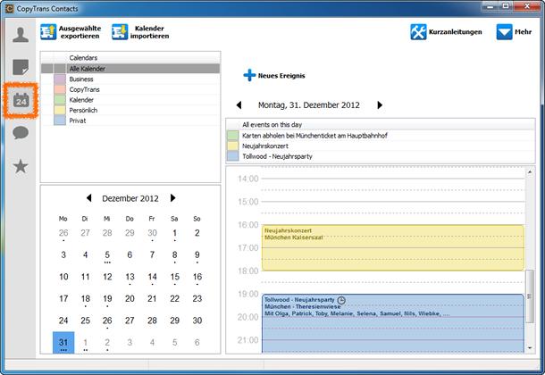 iPhone Kalender Backup PC sichern