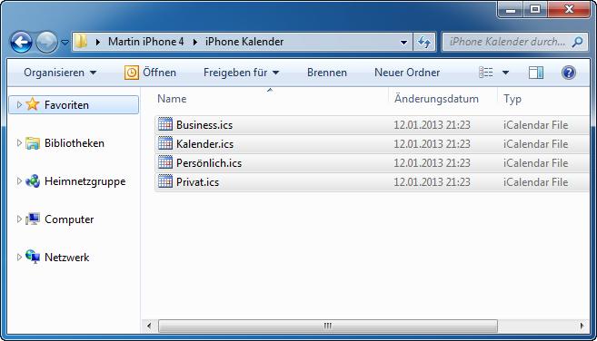 Kalender iPhone am PC speichern