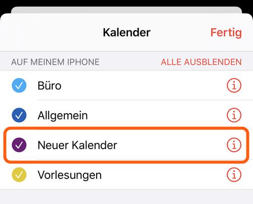 Neuer Kalender auf dem iPhone