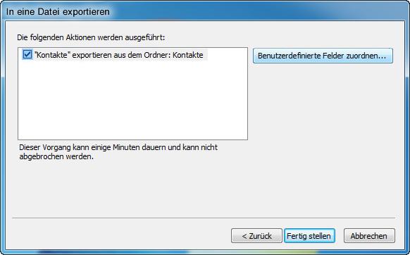 Kontakte Outlook in Datei exportieren