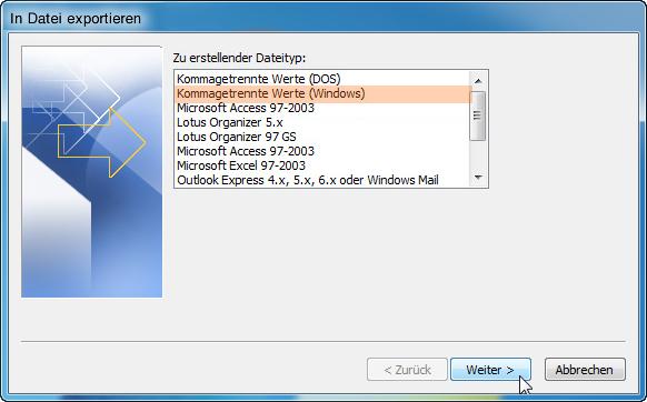 Outlook Kontakte exportieren in CSV