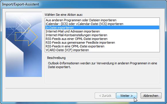 Outlook Kontakte exportieren