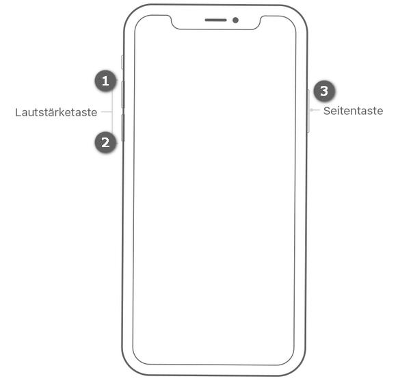 Beim iPhone X den Neustart erzwingen