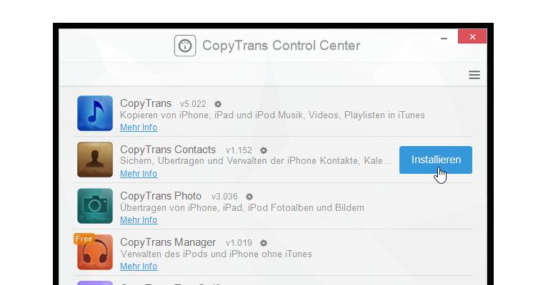 copytrans contacts installieren