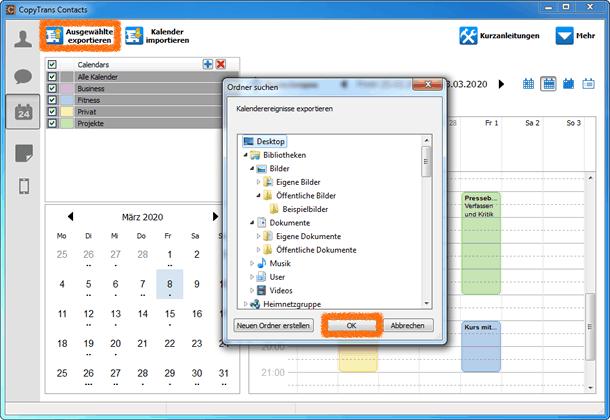 iPhone Kalender am PC speichen