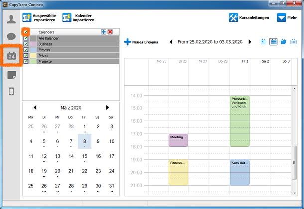 iPhone Kalender auswählen