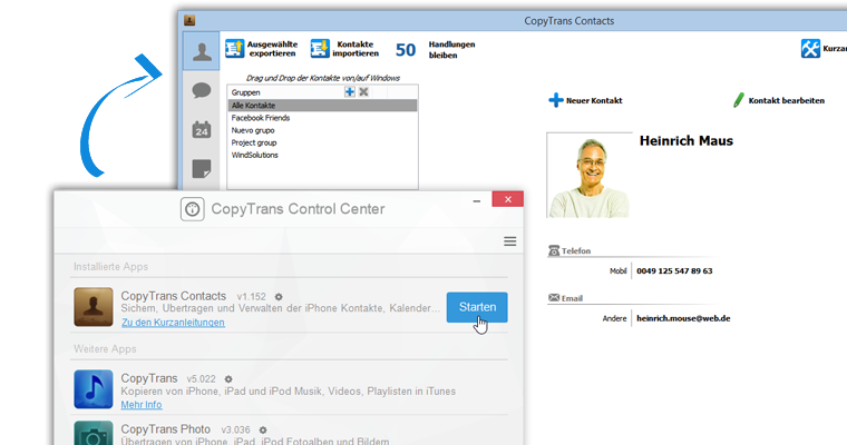 copytrans contacts starten