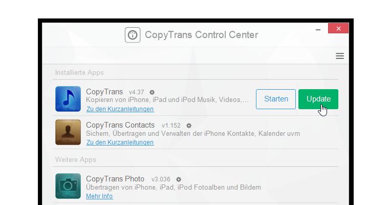copytrans programme aktualisieren