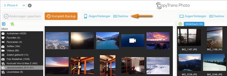 Diashow auf dem iPhone im CopyTrans Photo
