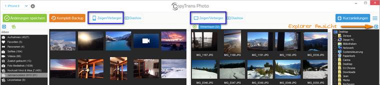 CopyTrans Photo Explorer Ansicht