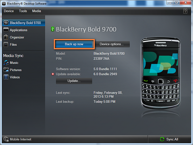 BlackBerry Kontakte sichern