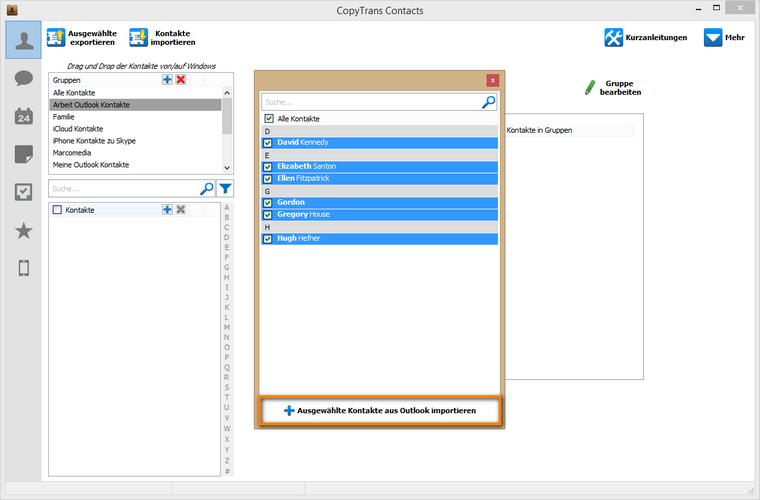 ausgewählte Outlook Kontakte am iPhone importieren