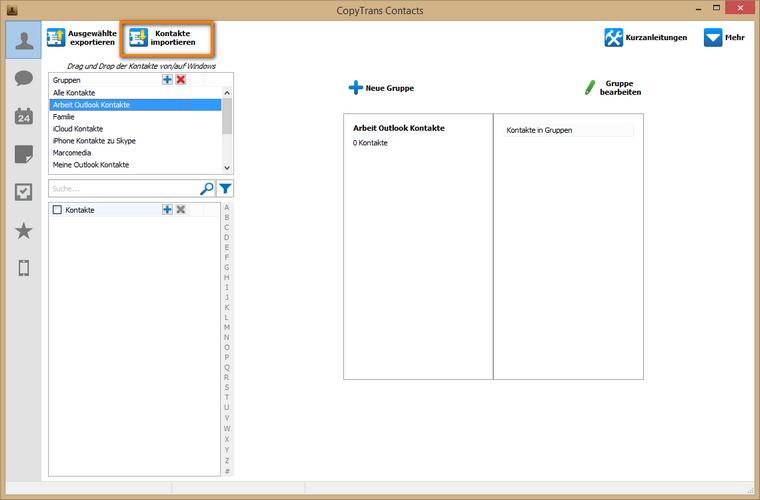 Outlook Kontakte am iPhone importieren