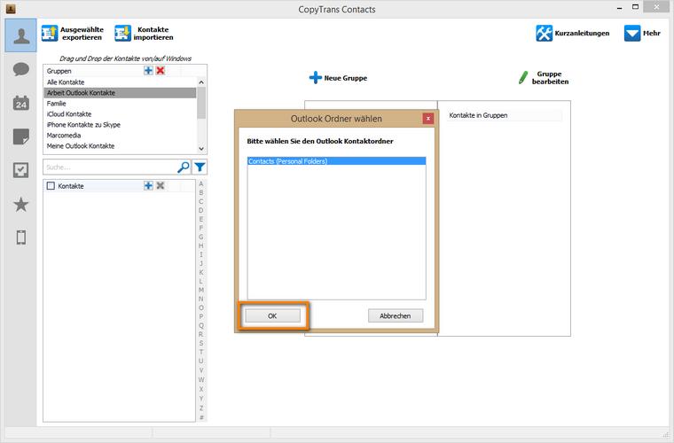 Outlook Kontakte zum Importieren auswählen
