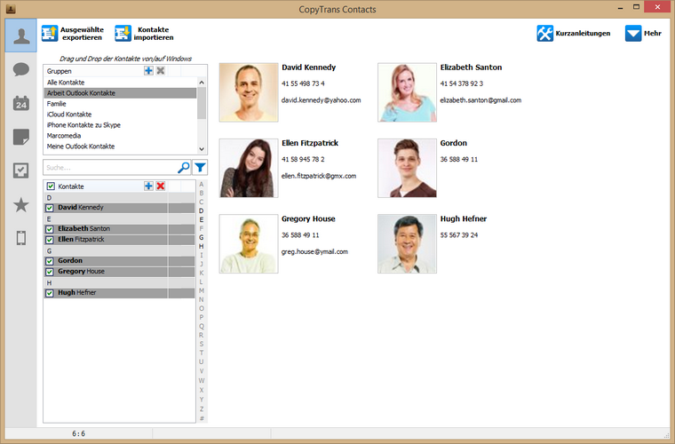 Outlook Kontakte erfolgreich am iPhone importiert